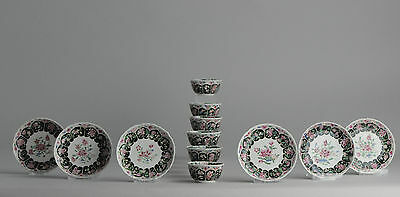 Magnificent 18c. Chinese Porcelain Famille Noire/Rose Cup & Saucer 'Flowers'