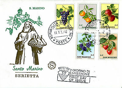 San Marino 1973 Set Of All 5 Fruits On Illustrated Unaddressed First Day Cover