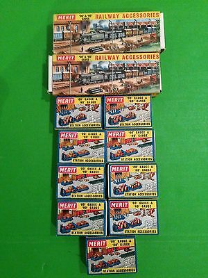Eleven boxes of Merit OO railway station / scenery accessories
