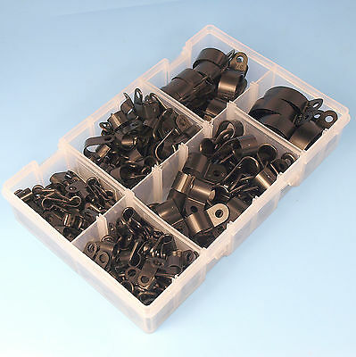 High Quality Assorted Box of Black Nylon Plastic P Clips - 200 Pieces