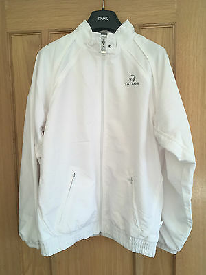 TAYLOR BOWLS Breathable Unisex White Sports Jacket Top SMALL VGC