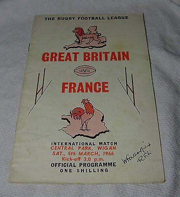 1966 GREAT BRITAIN v FRANCE Rugby League International OFFICIAL PROGRAMME Wigan