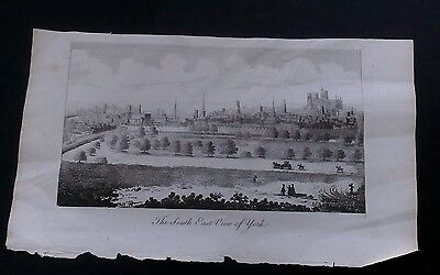 Original Antique Print Of The South East View Of York.