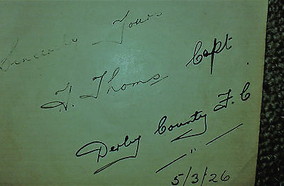 Derby County Autograph Of The Captain H Thoms 1926