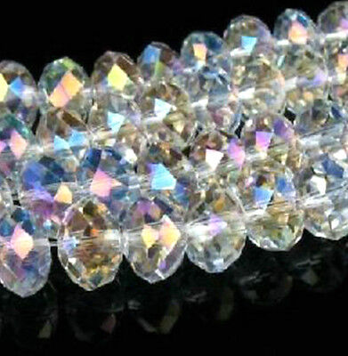 100-300Pcs Clear AB Faceted Crystal Glass Beads for Jewellery Making Craft 6mm