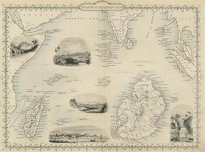 Rare Original Tallis Map Of Islands In The Indian Ocean, 1850's