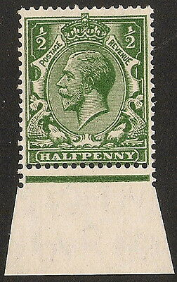 1924  1/2d  INTENSE YELLOW GREEN  N33(-)  PERF TYPE 4   MOUNTED MINT