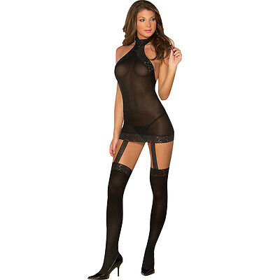 Sheer to Please Garter Dress with Attached Stockings, One Size, Black