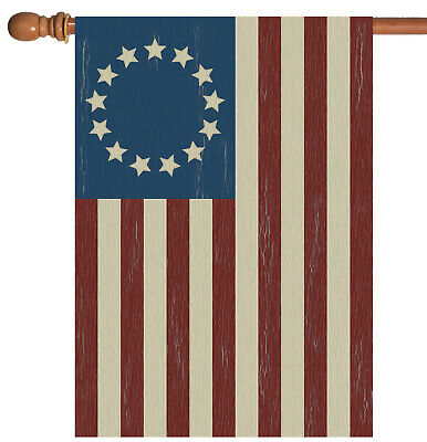 Toland Betsy Ross 28 x 40 Rustic Patriotic American USA Stars Stripes House Flag