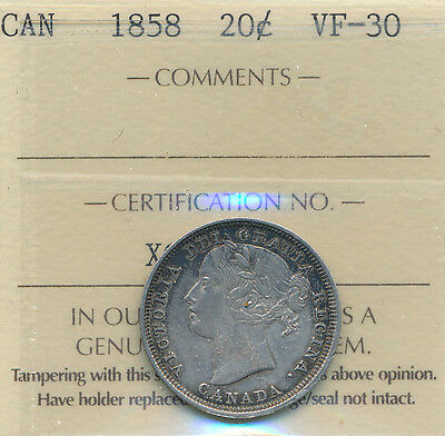 1858 20 cents, VF-30  certified