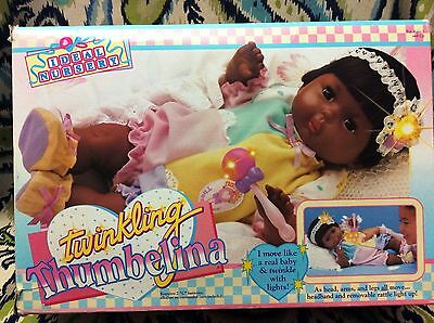 Rare! Ideal Newborn Thumbelina Doll Mint In The Original Box - Tested Works