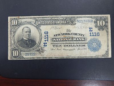 1902 The New York County National Bank New York $10 Date Back Currency Note 1116
