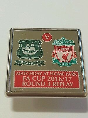 PLYMOUTH ARGYLE v LIVERPOOL 3rd Round FA CUP Football REPLAY Enamel BADGE Pin