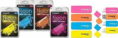 Integral Neon 4GB 8GB 16GB 32GB 64GB USB Memory Stick Flash Thumb Drive New