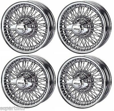 New Set Of 4 Jaguar E Type, Mk2 And Dv8 250 Chrome Wire Wheel 5J X 15  72 Spokes