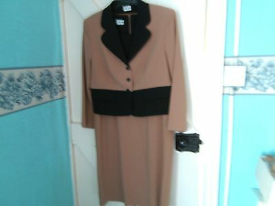 Ladies Vintage style Dress and Jacket black and tan Elinette. Size 38""