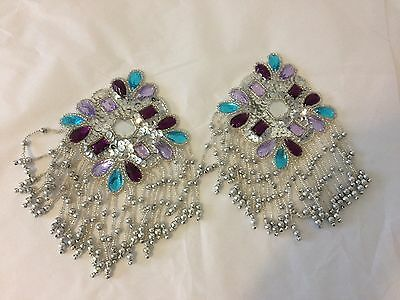 Beaded and sequin shoulder caps purple, blue and silver set of two