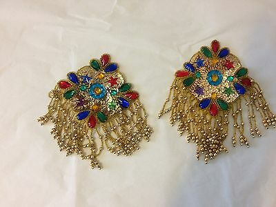 Beaded and sequin shoulder caps gold, blues, reds and green set of two