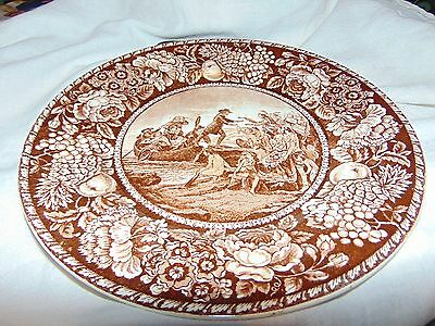 """OLD Staffordshire England 10"""" Am. History plate Landing- Roger Williams"""
