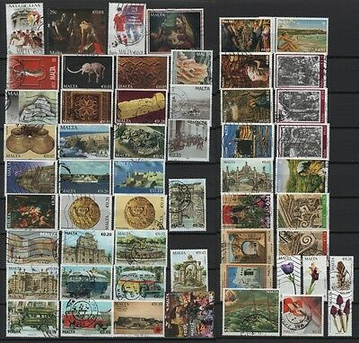 Malta used collection Sammlung with high values Bus flowers ships Eurowerte 2015