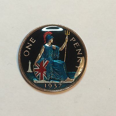 Enamelled 1937 One Penny Britannia Coin