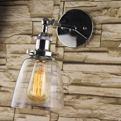 Industrial Retro Vintage Chrome Bowl Clear Glass Lamp Shade Pendant Wall Light