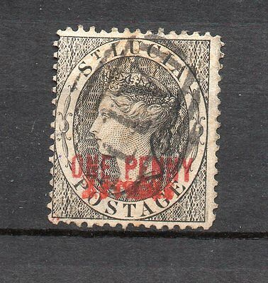 St Lucia 1883 1d black pen cxl removed ? 11mm overprint Barefoot 8A