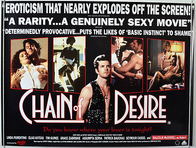 CHAIN OF DESIRE (1993) Original Cinema Quad Movie Poster - Malcolm McDowell
