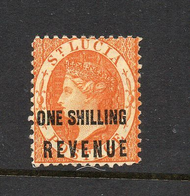 St Lucia 1882 One Shilling postal fiscal stamp SG F20 large part original gum