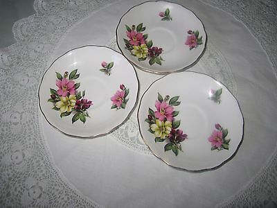 3 Saucers, Colclough Fine Bone China, Crown Royal, Made in England