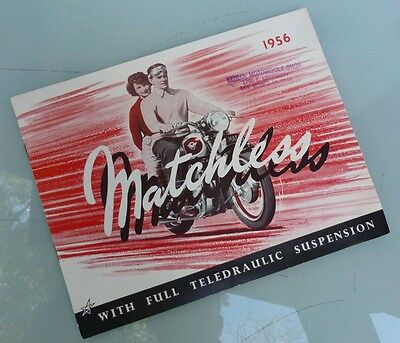 1956 Matchless Motorcycle Brochure Book Catalog G3 G9 G11 G45 G80 Clubman Ajs