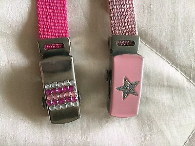 2x Light/dark Pink Girls Belts Glitz Buckles.