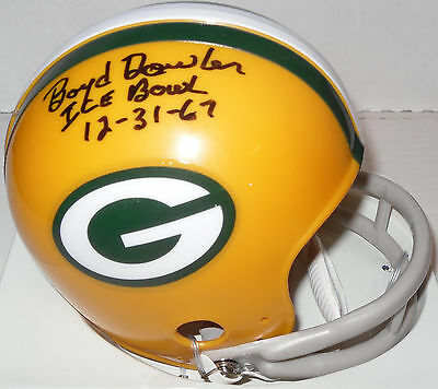 Packers BOYD DOWLER Signed Throwback 2-Bar Mini Helmet AUTO w/ Ice Bowl 12-31-67