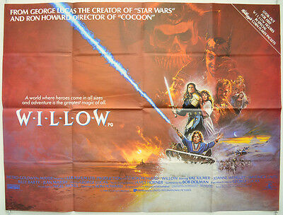 WILLOW (1988) Original Quad Film Poster - Val Kilmer, Warwick Davies, Ron Howard