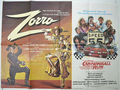 ZORRO / THE CANNONBALL RUN (1981) Original Quad Movie Poster -  Burt Reynolds