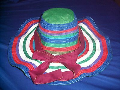 Traditional Womens Ladies  Unique Cambodian Sun Hat - Colourful  Design & Ribbon