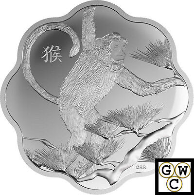 2016Year of the Monkey Lunar Lotus-Scallop Shaped Prf $15 Slvr Coin .9999(17423)