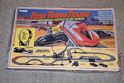 Tyco Twin Turbo Trains Electric Slot Car Set In Box With Lots of Extras READ