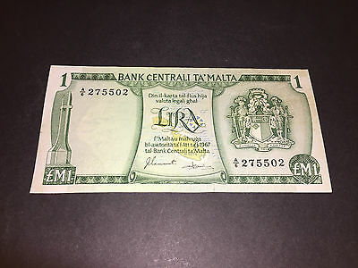 1 Lira Bank Note Green Issued By The Bank Centrali Ta Malta