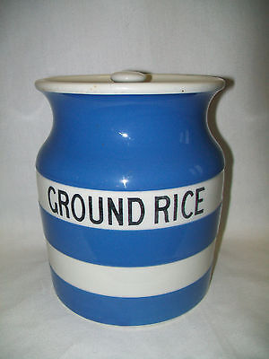 Large Vintage T G Green Ground Rice Storage Jar Cornish Ware Shield Mark
