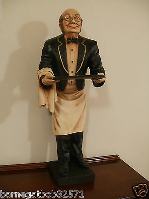 """Vintage Statue -  Waiter Butler Statue Holding Serving Tray 37"""" tall"""