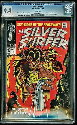 Cgc 9.4 The Silver Surfer #3 White Pages 1968 Marvel 1St Appearance Of Mephisto