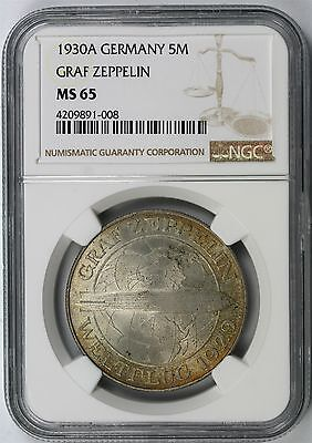 1930A Germany Silver 5 Mark Graf Zeppelin NGC MS65