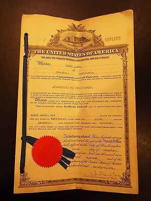 Pacific Coast Patent Agency Official Patent for Attachment for Typewriters 1913