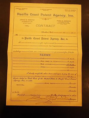 Pacific Coast Patent Agency Contract for Patent Attachments for Typewriters 1912