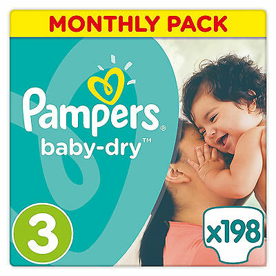 Pampers Baby-Dry Nappies Monthly Saving Pack Size 3 Pack of 198 New Fast Shiping