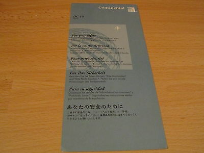 Continental DC-10 safety card RARE