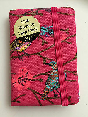 2017 Pocket Fabric Diary week to view Pink Birds Butterflies elastic cover new