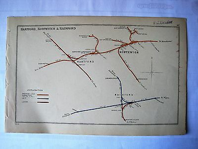 1908 RAILWAY CLEARING HOUSE Junction Diagrams HARTFORD,NORTHWICH & RAINFORD.