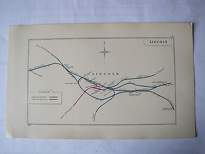 1928 RAILWAY CLEARING HOUSE Junction Diagrams.LINCOLN.